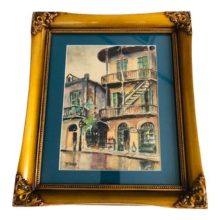 Late 20th Century Framed Original French Quarter Watercolor For Sale
