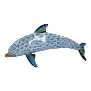 Herend Blue Fishnet Dolphin Figurine For Sale