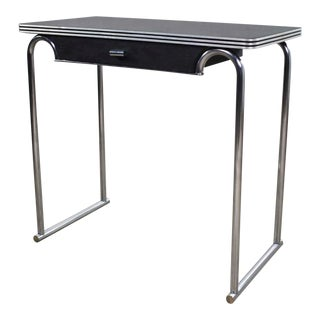 Art Deco Machine Age International Style Chrome & Black Console Table Gilbert Rohde Attribution For Sale