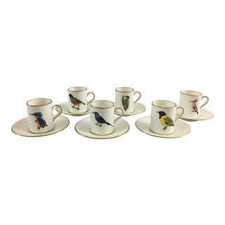 Hammersley for Rowland Ward African Bird Demitasse Cups and Saucers - Set of 6 For Sale
