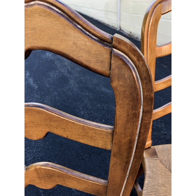 Brown 1970s Vintage Ethan Allen French Country Ladderback Chairs- Set of 6 For Sale - Image 8 of 10