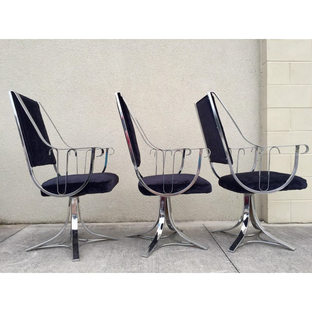 Mid-Century Chrome Swivel Chairs- Set of 6 - Image 7 of 11