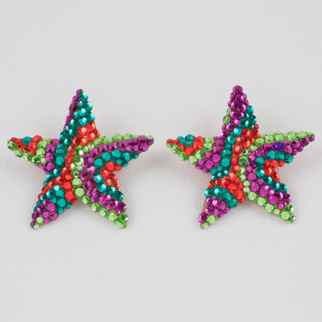 American Richard Kerr Multicolor Star Jeweled Clip Earrings For Sale - Image 3 of 7