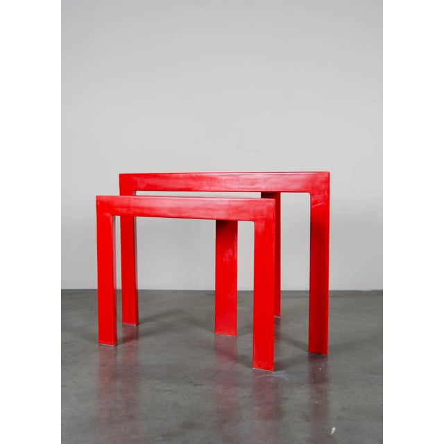 Pair Of Corner Nesting Tables Red Lacquer By Robert Kuo Hand Made Limited Edition