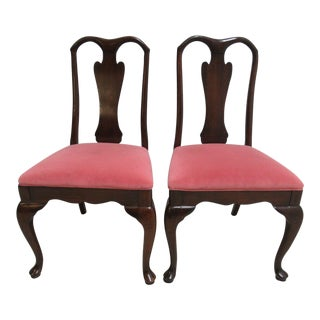 Harden Cherry Queen Anne Dining Room Side Chairs - A Pair For Sale
