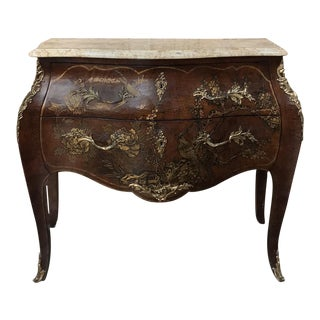 19th Century French Louis XV Marble Top Bombe Commode For Sale