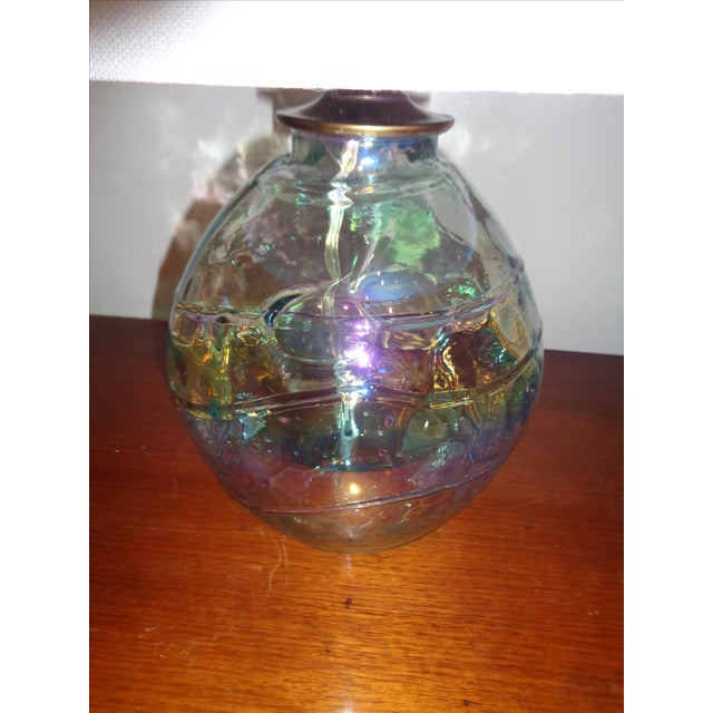 Art Glass Iridescent Table Lamp - Image 3 of 4
