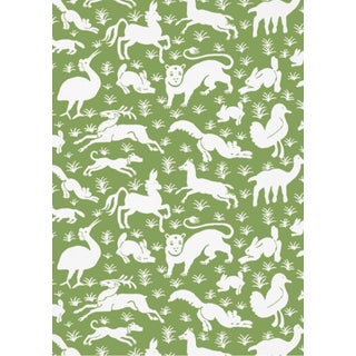 Thibaut Green Animalia Wallpaper - 4 Double Rolls For Sale