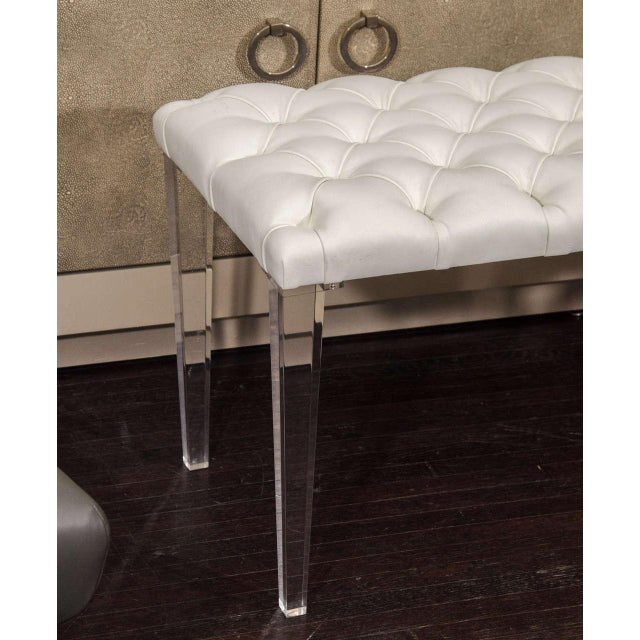 2010s Custom Tufted Leather with Lucite Leg Bench For Sale - Image 5 of 6