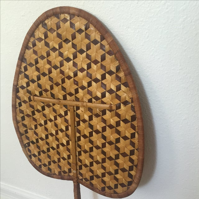 Boho Chic Vintage Bamboo Woven Reed Fan For Sale - Image 3 of 8