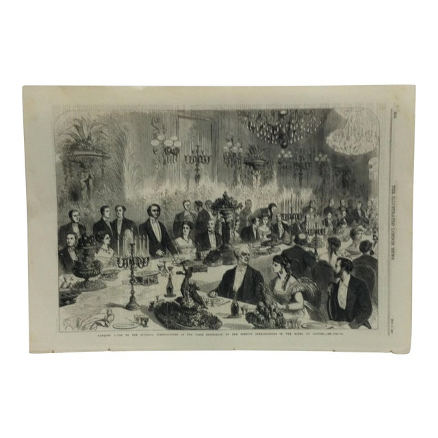 """1867 Antique """"Banquet Given to the Imperial Commissioners of the Paris Exhibition"""" The Illustrated London News Print For Sale"""