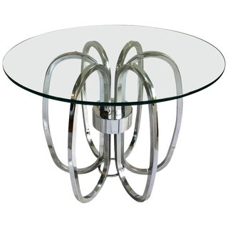 Mid-Century Modern Chrome and Glass Sculptural Round Side Accent Table, 1970s For Sale