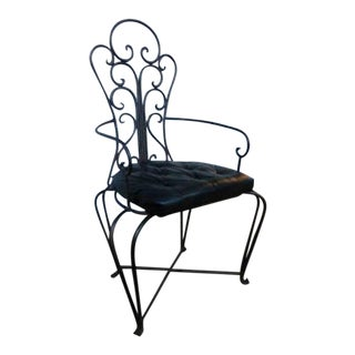 Vintage Mediterranean Inspired Wrought Iron Patio Chair For Sale