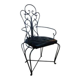 Vintage Mediterranean Inspired Wrought Iron Patio Chair