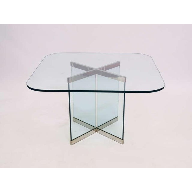 Silver Glass & Chrome Dining Table by Leon Rosen for Pace Collection For Sale - Image 8 of 10
