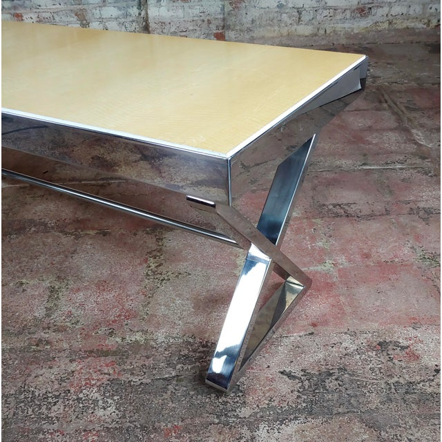Silver Beautiful Designer Chrome Coffee Table With Lacquered Wooden Top For Sale - Image 8 of 10
