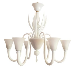 Large Mid-Century Modern 6 Lights Milk Murano Glass Chandelier by Venini For Sale