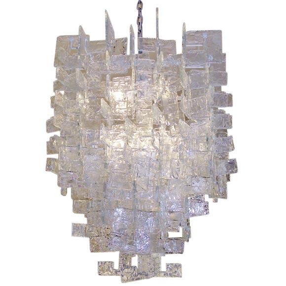 Large Mazzega Chandelier / Interlocking Glass C Shapes For Sale
