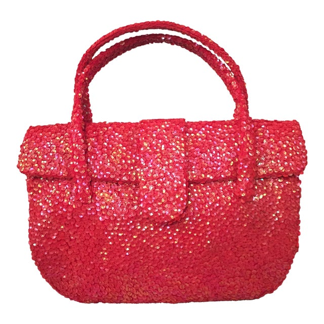 Hattie Carnegie Mid-Century Coral Sequin Covered Top Handle Evening Bag For Sale