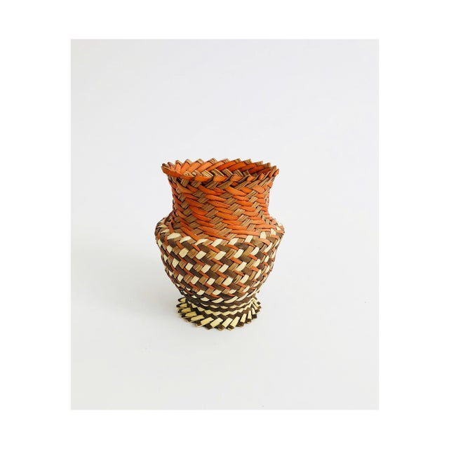 Vintage Woven Basket Vase - Red, Brown, and Tan For Sale - Image 4 of 4