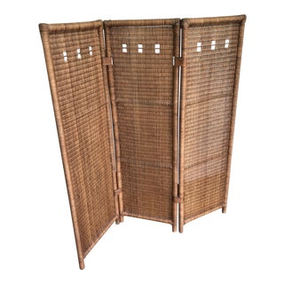 Vintage Rattan Folding Screen For Sale