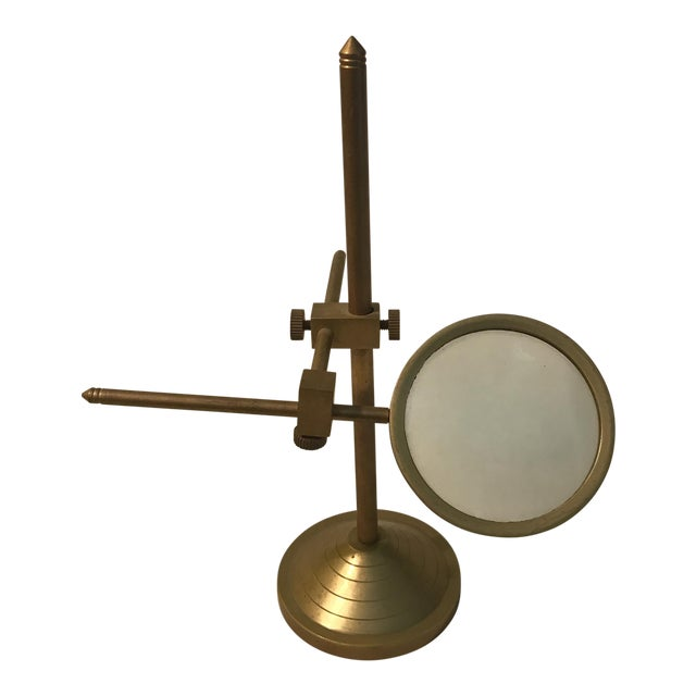 Vintage Magnifying Glass With Adjustable Brass Stand For Sale