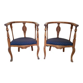 1900s Traditional Carved Round Wood Armchairs - a Pair