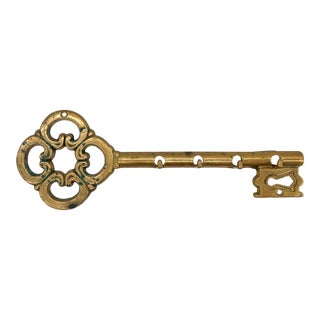 Mid Century Italian Brass Skeleton Key Wall Hook Rack For Sale