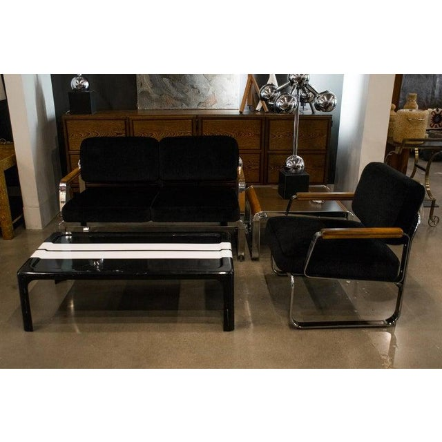 Mid-Century Modern chrome framed loveseat and chair with custom upholstered seats and back in black mohair with matching...