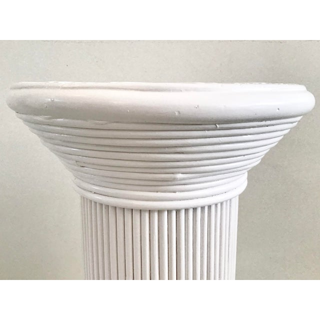 Pencil Reed Rattan Cocktail Table in White Lacquer For Sale In West Palm - Image 6 of 9