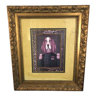 Framed Hound Dog in Sergeant Uniform With Leopard Matting & Gold Frame For Sale