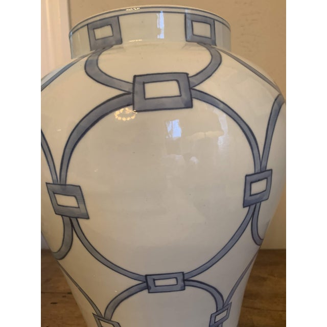 2010s Blue & White Porcelain Lover Locks Temple Jar For Sale - Image 5 of 13