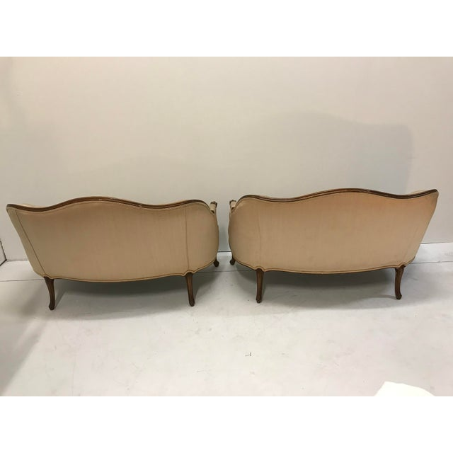 Wood 1960s Country French Loveseats Settee Cabriole Leg Louis XV Style Button Tufted Carved Frame - a Pair For Sale - Image 7 of 12