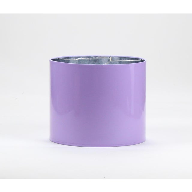 Lavender Large High Gloss Lavender Drum Lampshade For Sale - Image 8 of 8