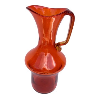 Wayne Husted Mid Century Tangerine Blenko Hand Blown Pitcher For Sale