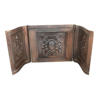 American Bronze-Plated Iron Fireback with Crest, Torch and Foliate Motifs For Sale