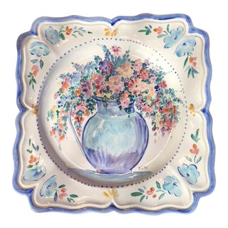 Hand-Painted French Faience Serving and Decorative Plate