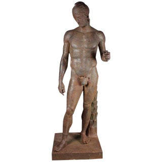 Monumental French Iron Statue of a Classical Greek or Roman Male Nude, 19th Century For Sale