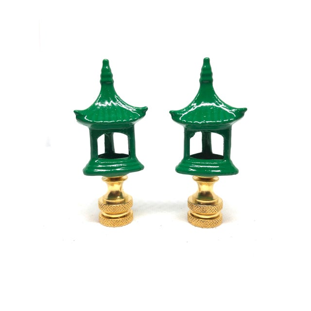 Asian Green Porcelain Pagodas Lamp Finials - A Pair For Sale - Image 3 of 3