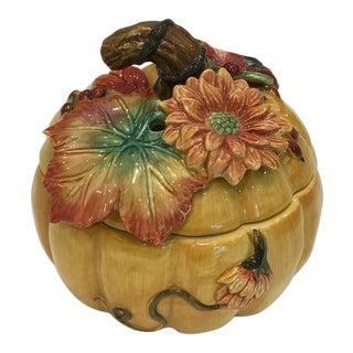 Vintage Fitz & Floyd Retired Majolica-Style Harvent Heritage Lidded Pumpkin Box For Sale