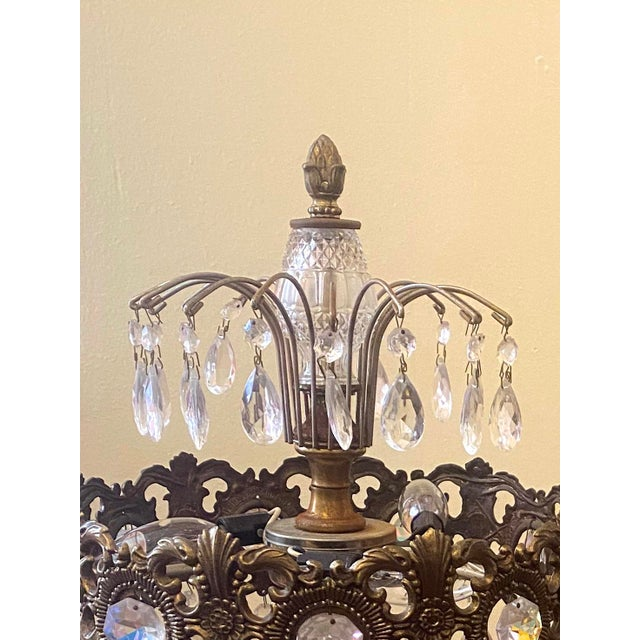 Art Nouveau 19th Century Large Gilt Bronze and Crystal Girandole Table Lamps - a Pair For Sale - Image 3 of 6