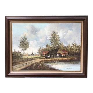 Framed Oil Painting on Canvas For Sale