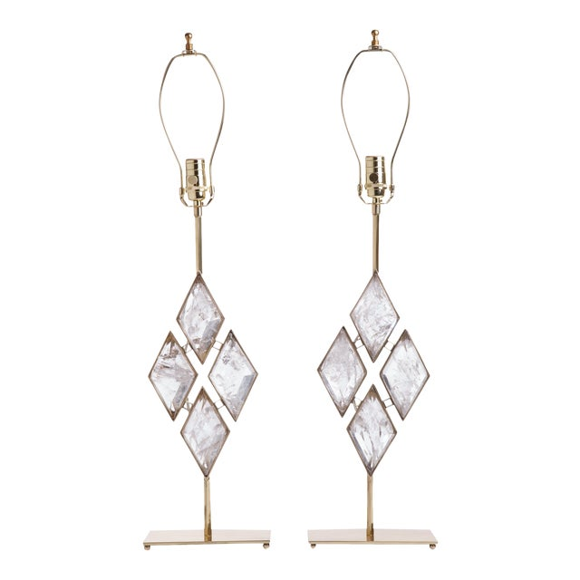 Rock Crystal and Brass Diamond Lamps - a Pair For Sale