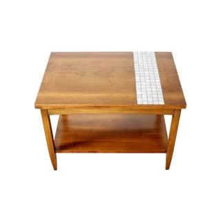 Lane Mid-Century Tile & Wood End Table