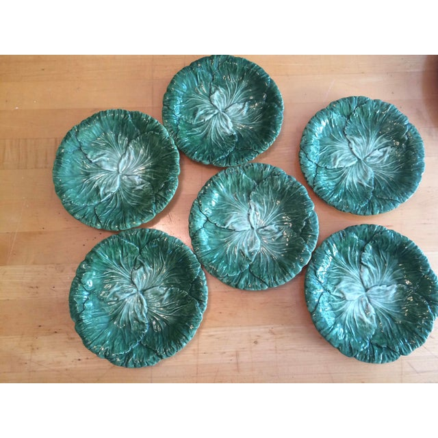 Set of 6 ceramic plates made in Italy by Vietri. Lettuce/cabbage design is beautifully painted. One plate has a partial...