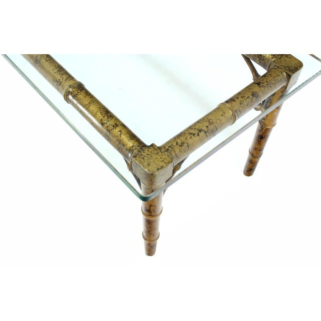 Mid 20th Century Lacquered Wood Faux Bamboo with Glass Top Rectangular Coffee Table For Sale - Image 5 of 8