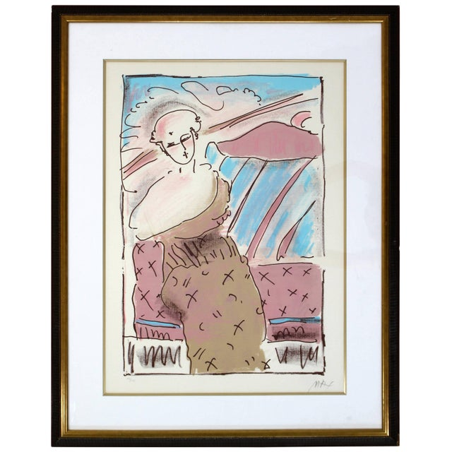 Printmaking Materials Mid-Century Modern Framed Print by Peter Max Seated Lady Signed Numbered For Sale - Image 7 of 7