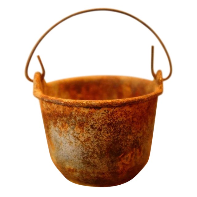 Patinated Foundry Smelting Crucible For Sale