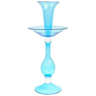 Tall Turquoise Glass Centrepiece Epergne, Handblown Custom Colors Available For Sale