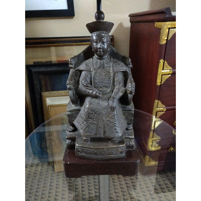 1940s 1940's Vintage Archaic Figural Bronze Effigy of the Empress of China Table Lamp For Sale - Image 5 of 12